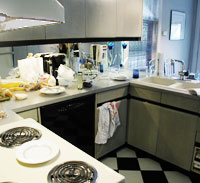 cluttered kitchen before home staging
