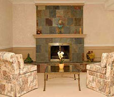 family room staged by Debra Gould